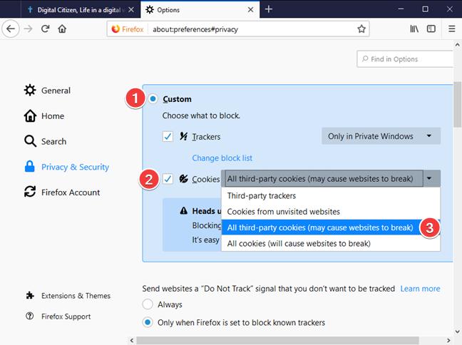 Bloquear cookies de terceros en Mozilla Firefox