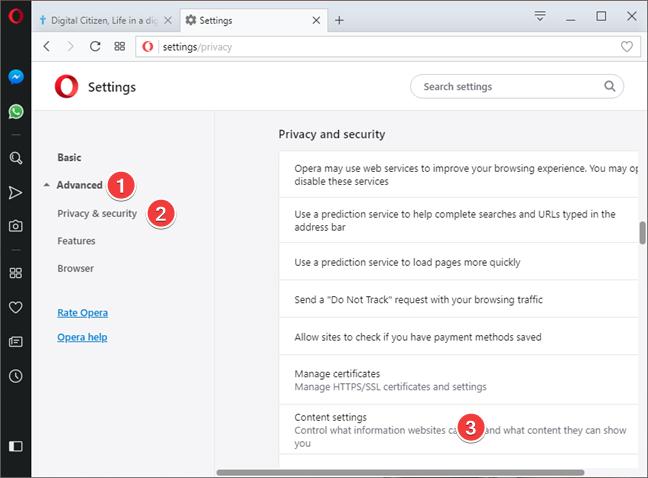 Abrir configuración de contenido en Opera