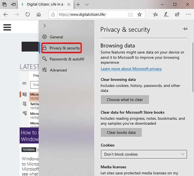 Privacidad abierta & amp; Configuración de seguridad en Microsoft Edge