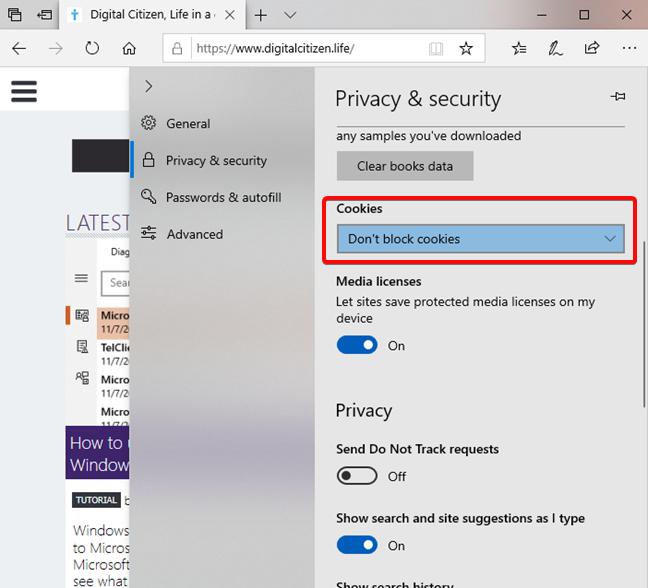 Configuración de cookies en Microsoft Edge