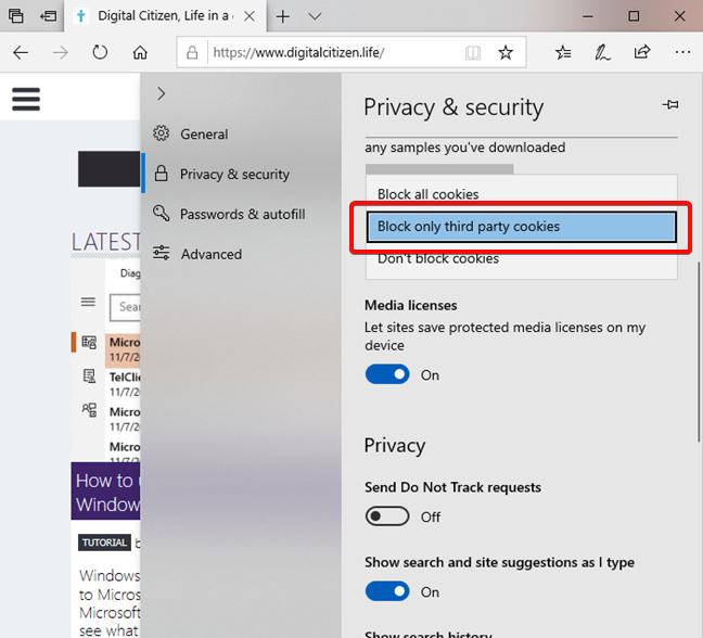 Bloquear cookies de terceros en Microsoft Edge