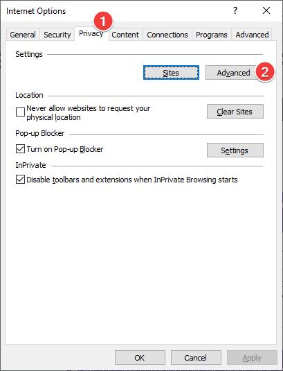 Abra la configuración de privacidad avanzada en Internet Explorer