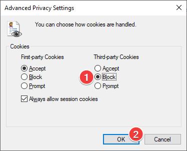 Bloquear cookies de terceros en Internet Explorer