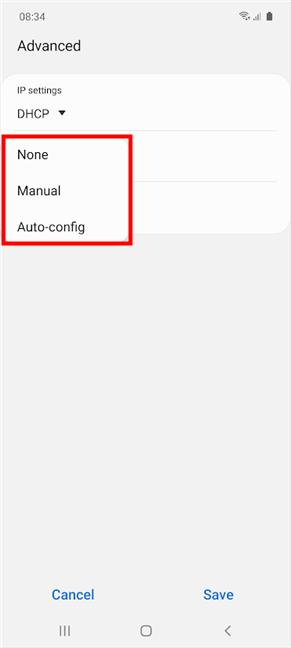 Seleccione un tipo de configuración de las opciones disponibles