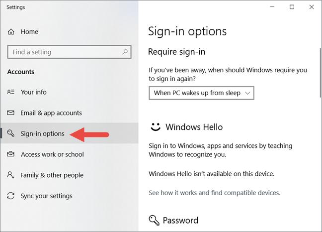 Windows 10, contraseña de usuario