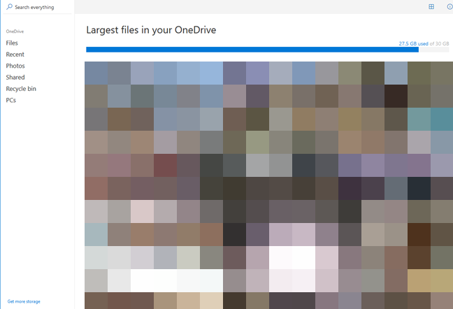 OneDrive, archivos grandes