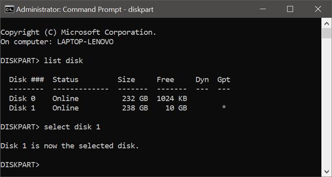 Usando diskpart para seleccionar el disco en el que se aplican los siguientes comandos