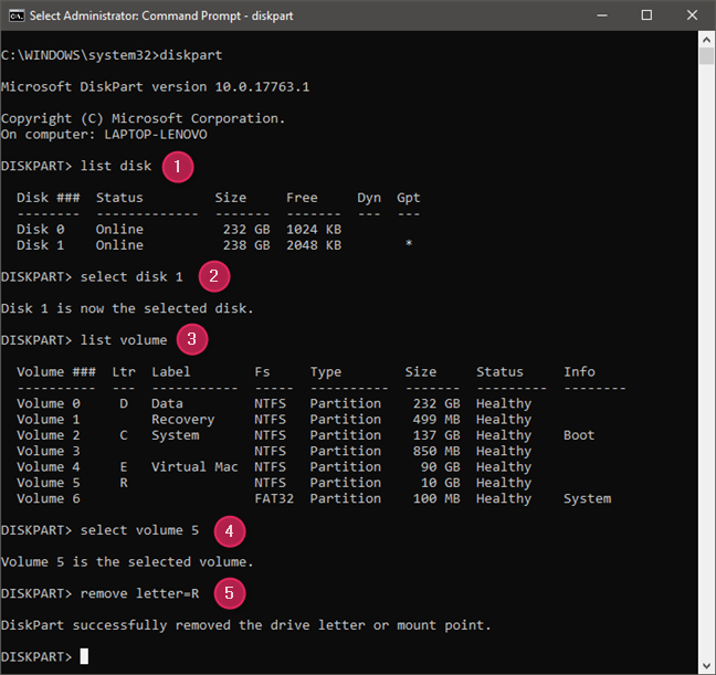 Usar comandos de diskpart para ocultar una partición eliminando su letra de unidad