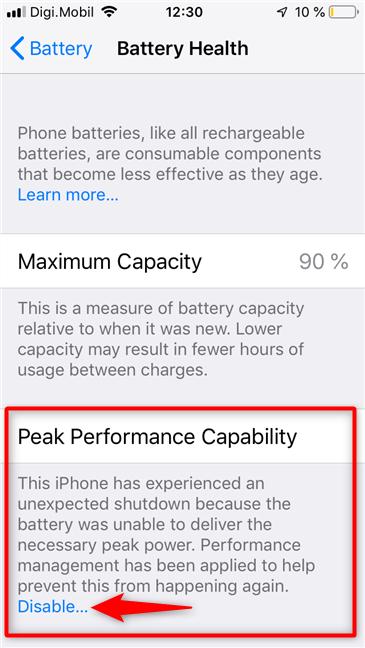 La capacidad de rendimiento máximo que se encuentra en la pantalla Estado de la batería