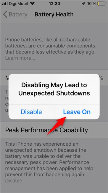Desactivación de la capacidad de rendimiento máximo en un iPhone