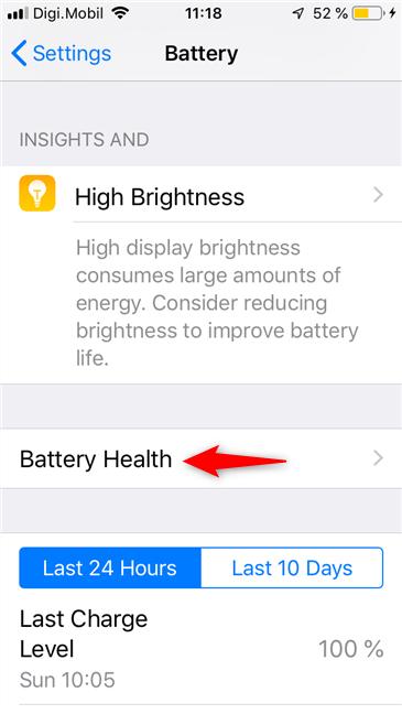 La entrada Battery Health en un iPhone