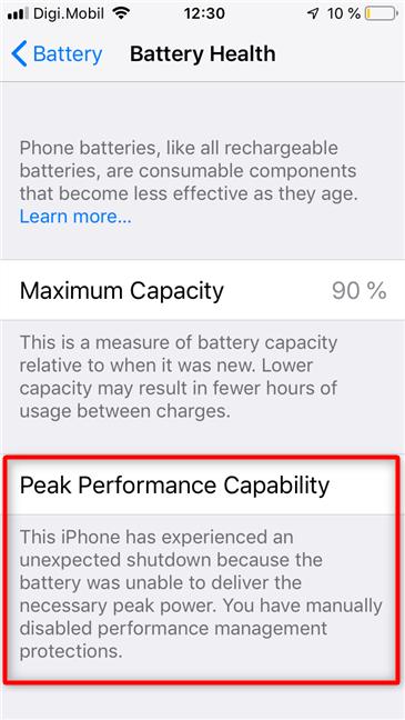 Capacidad de rendimiento máximo deshabilitada en un iPhone