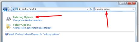 Buscar opciones de indexación en Windows 7