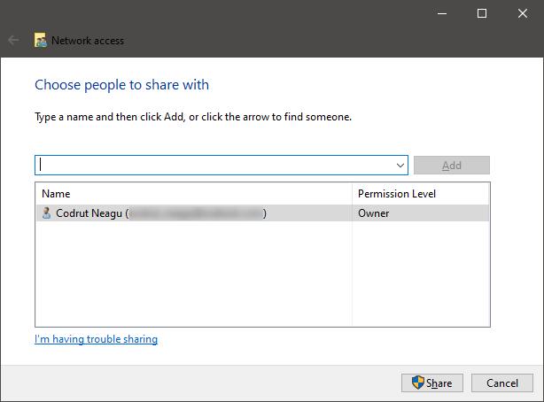 El asistente para compartir de Windows
