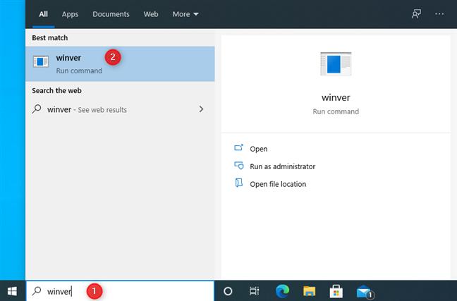 Buscar winver en Windows 10