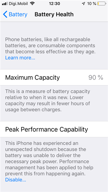 Las funciones de Battery Health que se encuentran en un iPhone