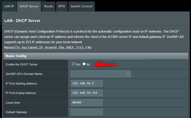 Servidor DHCP habilitado en un enrutador